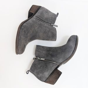 Lucky Brand Basel grey suede zip ankle boots